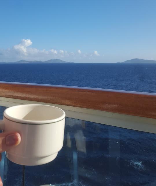 Cruise coffee on balcony