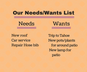 Our Needs-Wants List